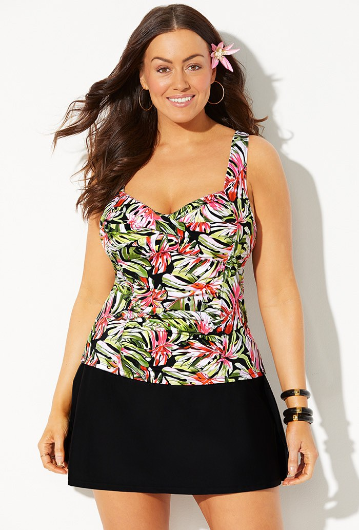 Ruched Twist Front Tankini with Side Slit Skirt