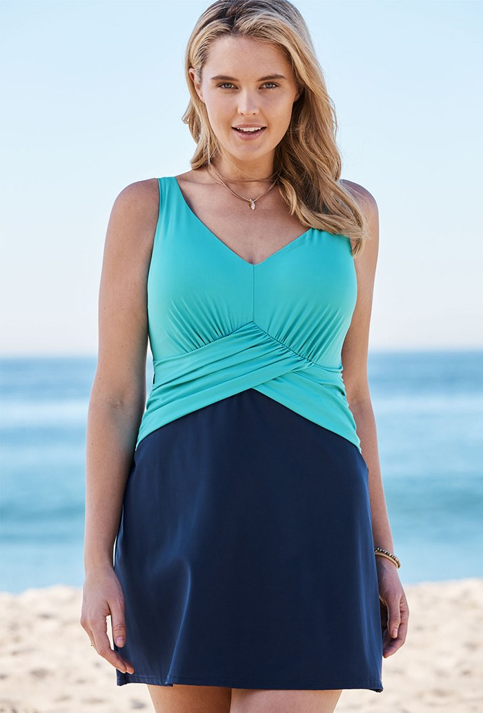 Seafoam Faux Wrap Underwire Swimdress Plus Size Swimwear
