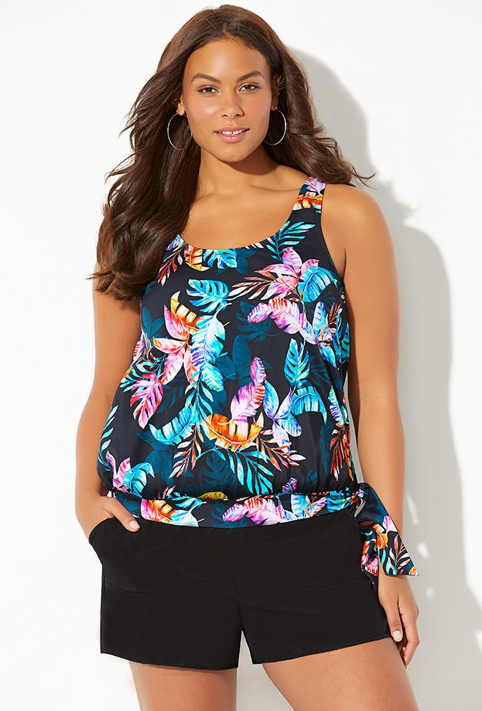 Side Tie Blouson Tankini with Cargo Short