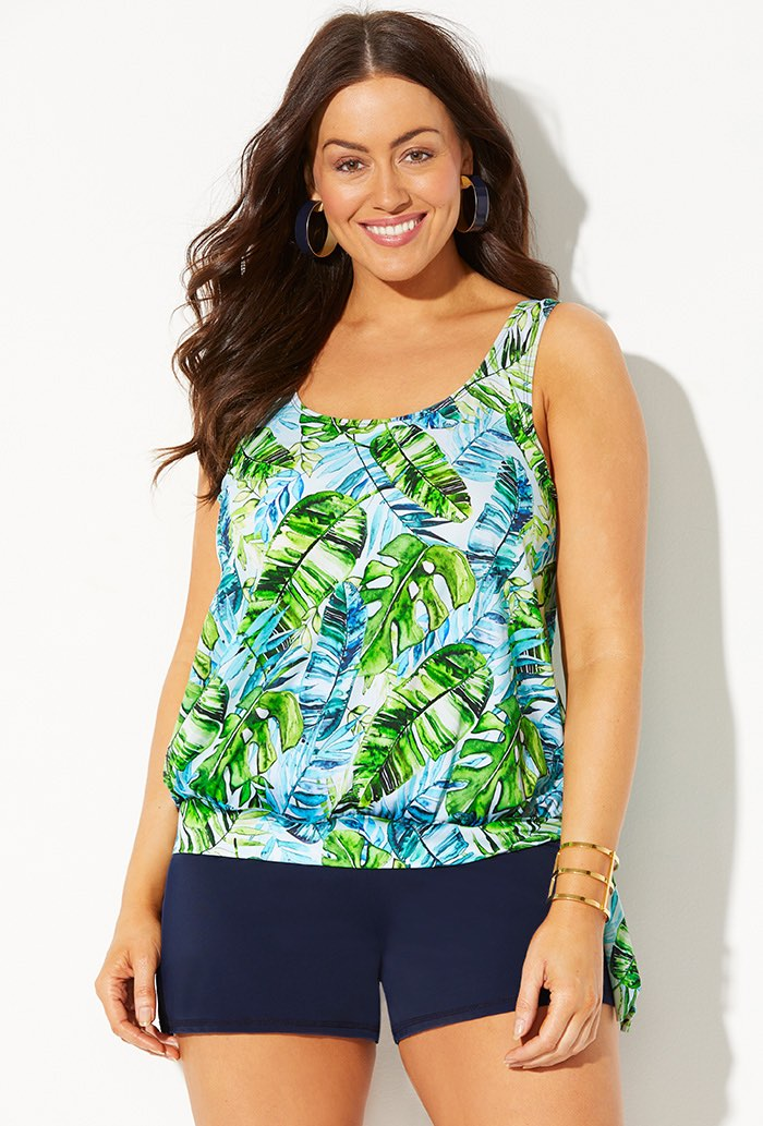 Side Tie Blouson Tankini with Navy Banded Short