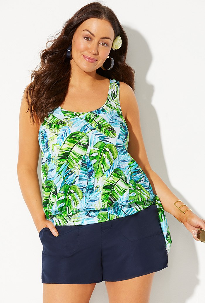 Side Tie Blouson Tankini with Navy Cargo Short