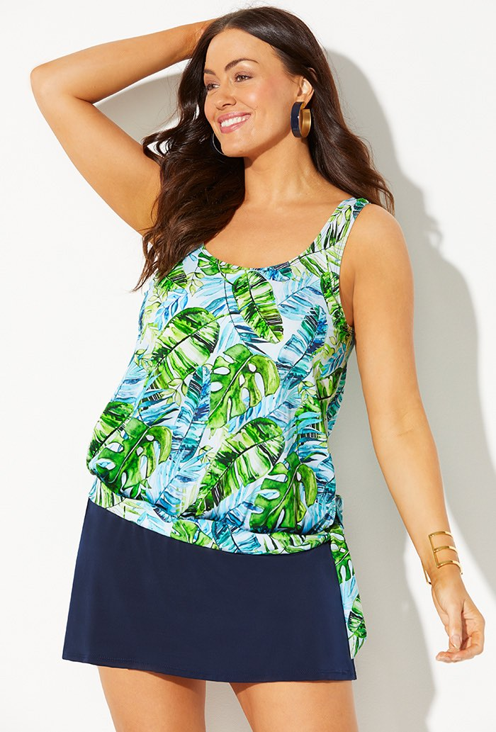 Side Tie Blouson Tankini with Navy Skirt