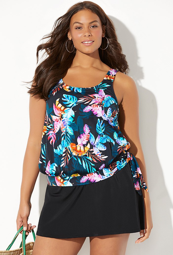 Side Tie Blouson Tankini with Skirt
