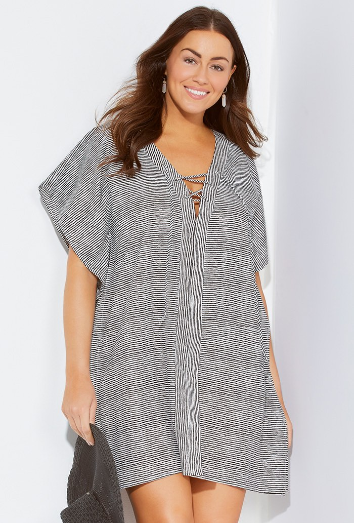 Striped Poncho Tunic Beach Cover Up