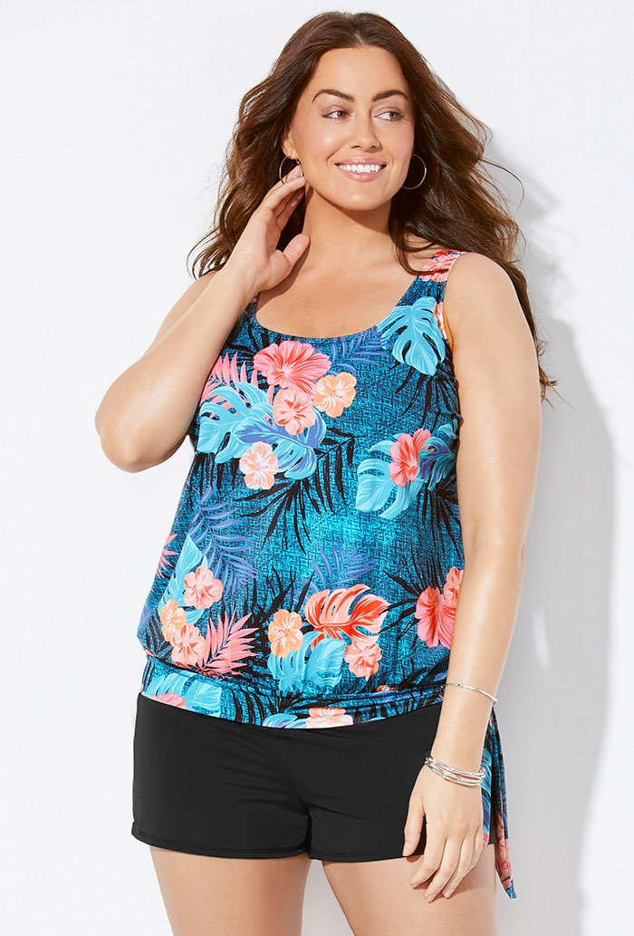 Teal Tropical Blouson Tankini Set with Short