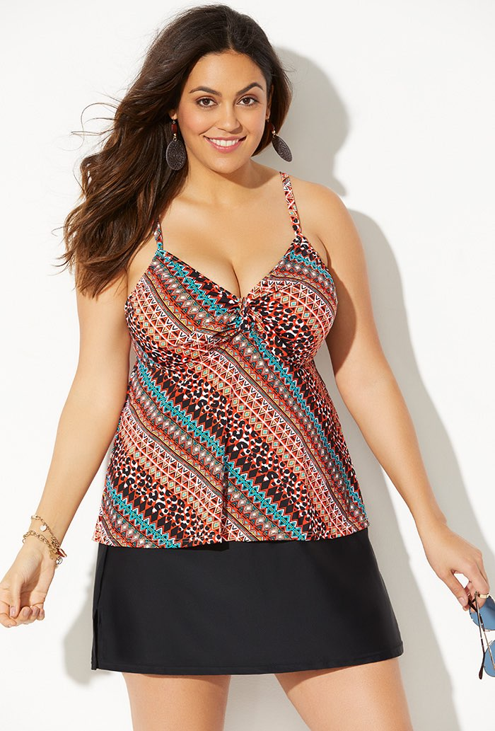 Tie Front Underwire Tankini With Side Slit Skirt