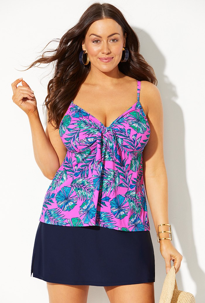Tie Front Underwire Tankini with Navy Slit Skirt