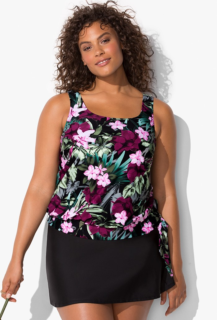 Tropical Floral Blouson Tankini Set with Skirt