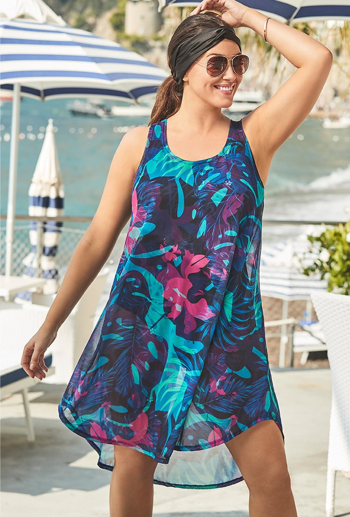 Tropical Palm High Low Mesh Tunic Swimsuit Cover U