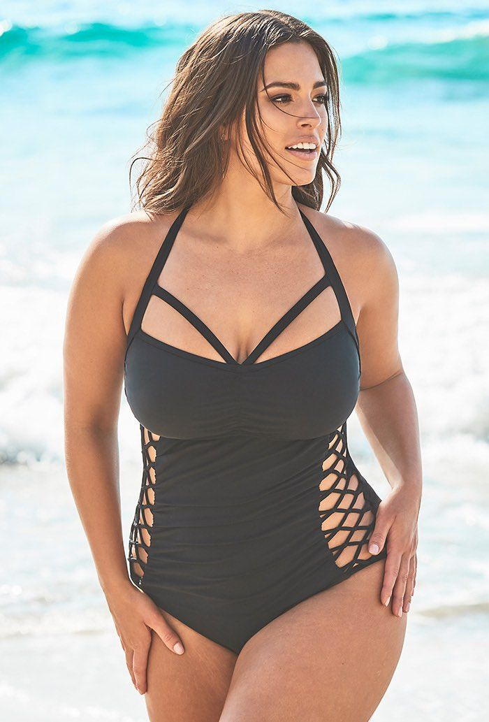 Ashley Graham x Swimsuits For All Boss Black Cut Out Underwire One Piece Swimsuit Plus Size Swimwear