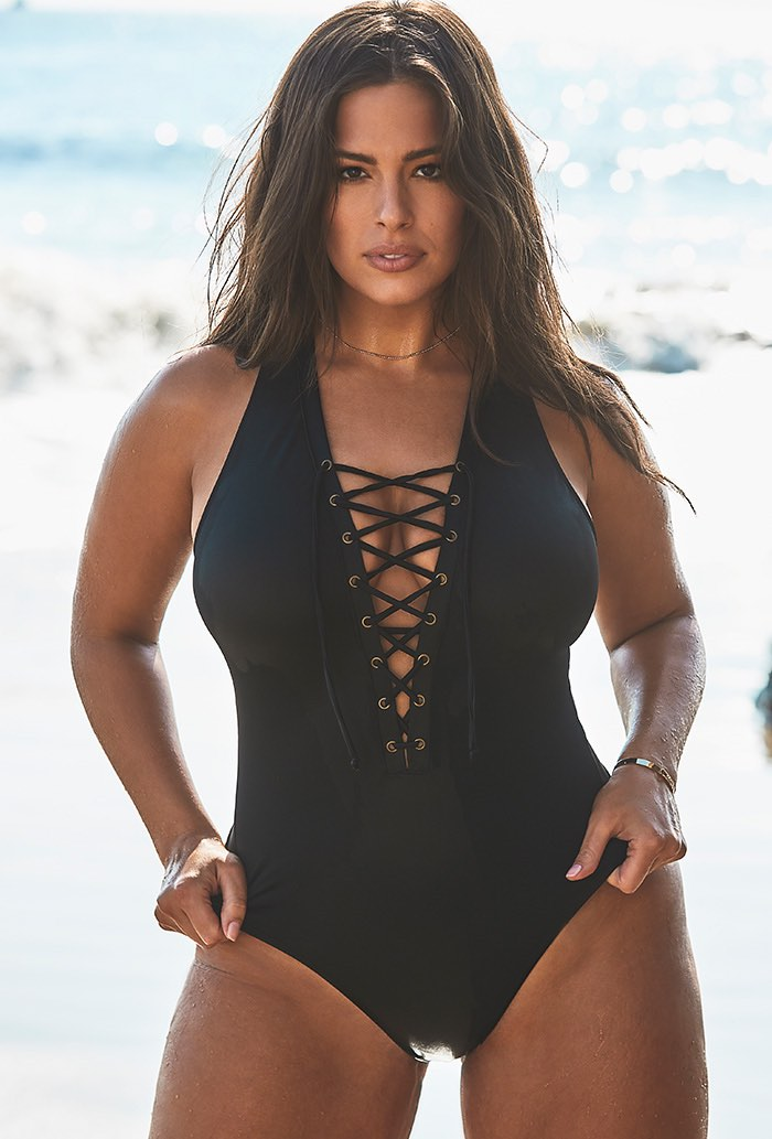 Ashley Graham x Swimsuits For All CEO Black Lace Up One Piece Swimsuit Plus Size Swimwear