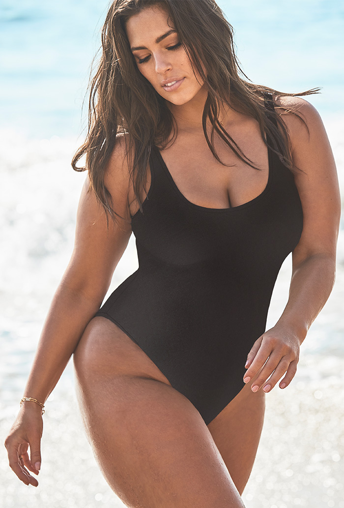 Ashley Graham x Swimsuits For All Hotshot Black One Piece Swimsuit Plus Size Swimwear