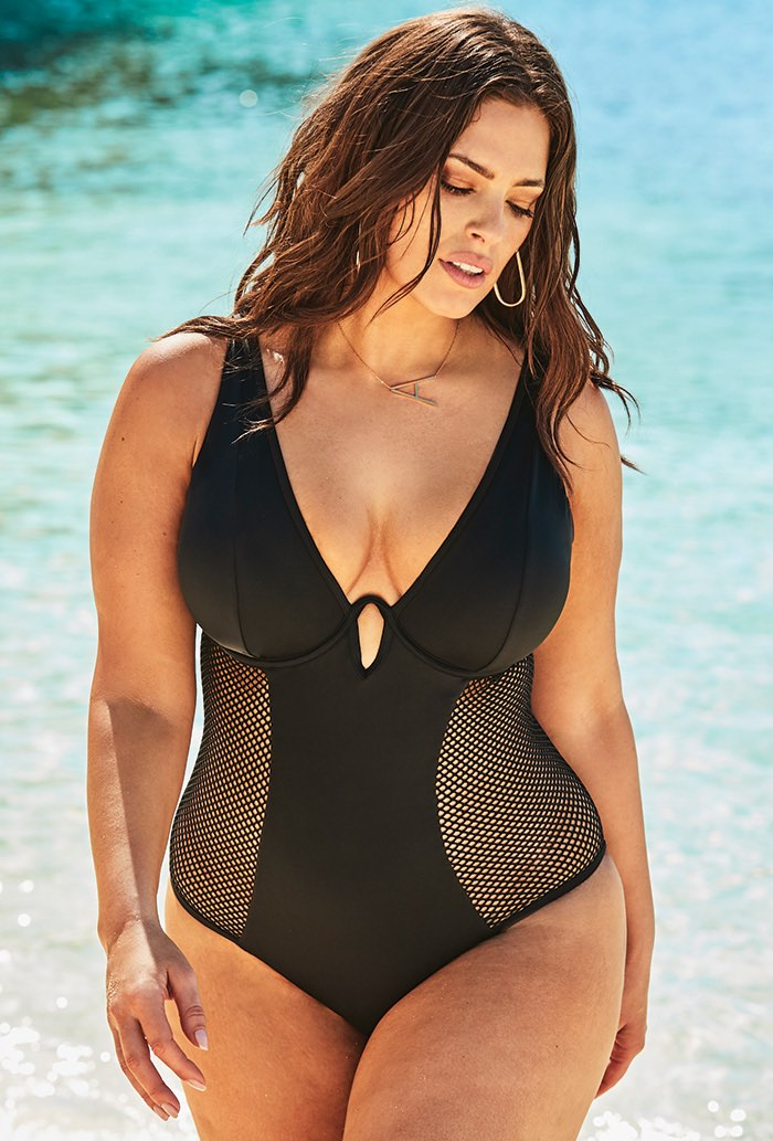 Ashley Graham x Swimsuits For All Majestic Plunge One Piece Swimsuit Plus Size Swimwear