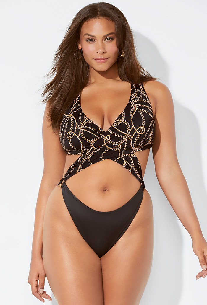 Ashley Graham x Swimsuits For All Notorious Monokini Swimsuit Plus Size Swimwear