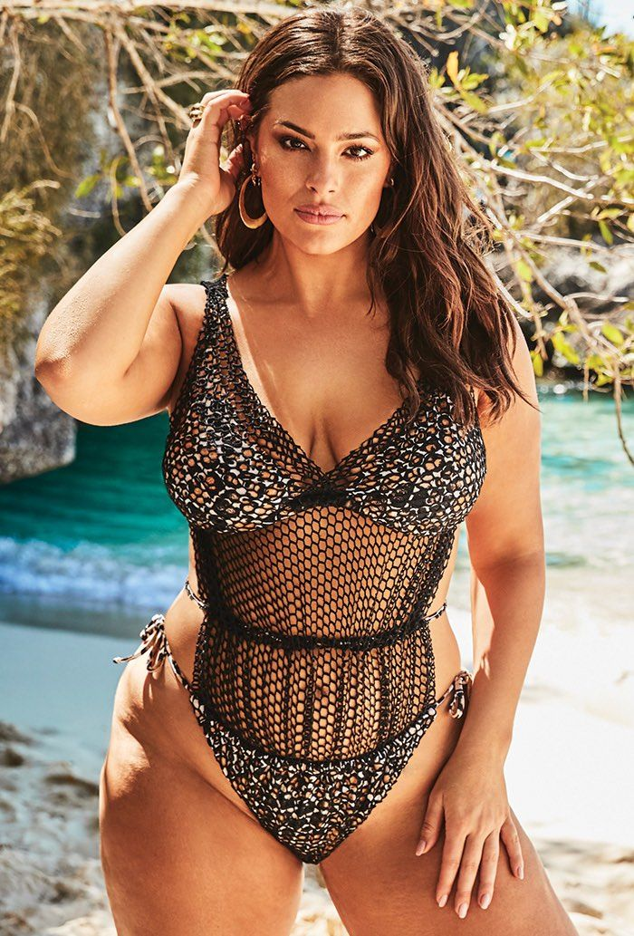 Ashley Graham x Swimsuits For All Phenom Triangle Monokini Plus Size Swimwear