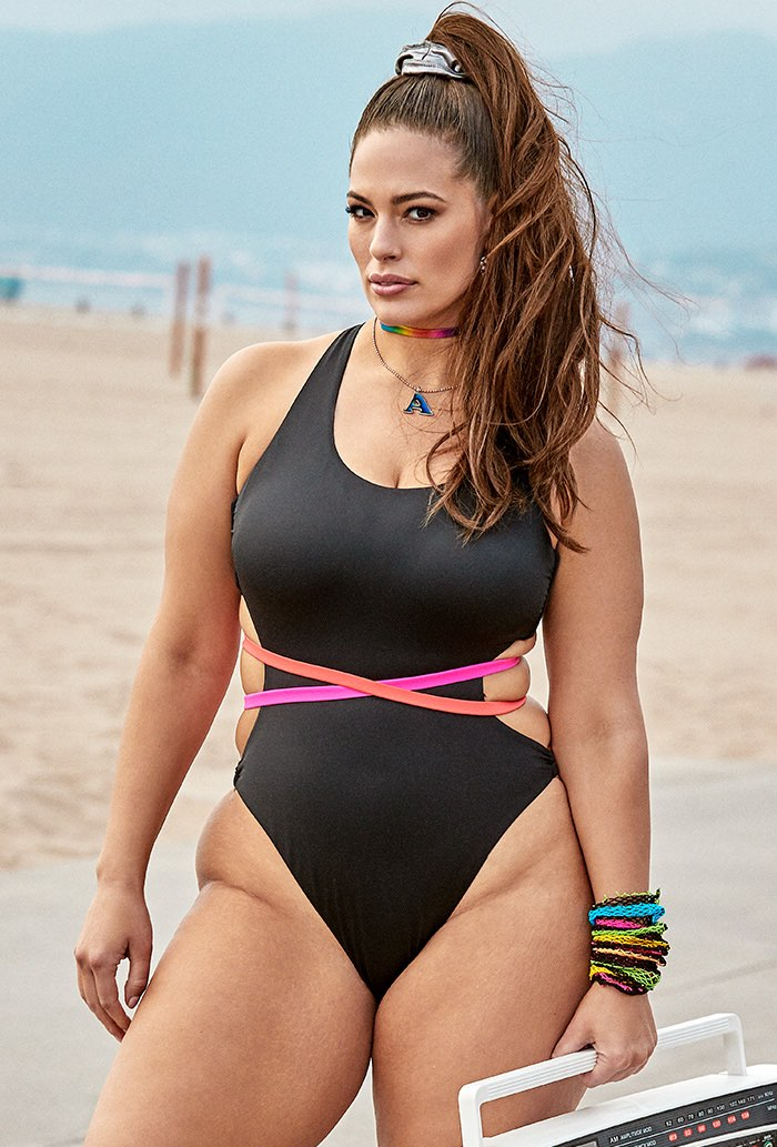 Ashley Graham x Swimsuits For All Throwback One Piece Swimsuit Plus Size Swimwear