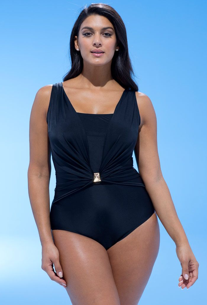 Black Belted One Piece Swimsuit Plus Size Swimwear