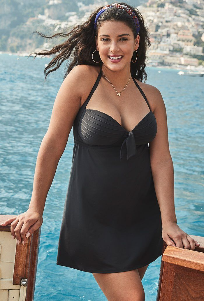 Black Bow Halter Swimdress Plus Size Swimwear
