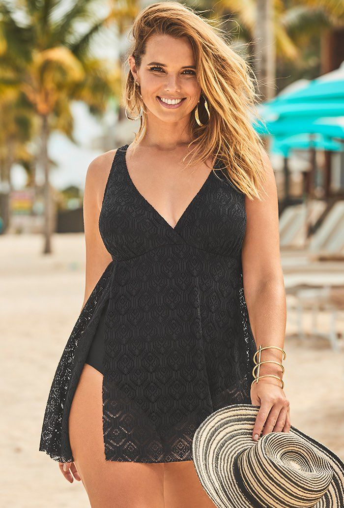 Black Crochet Side Slit V-Neck Swimdress Plus Size Swimwear