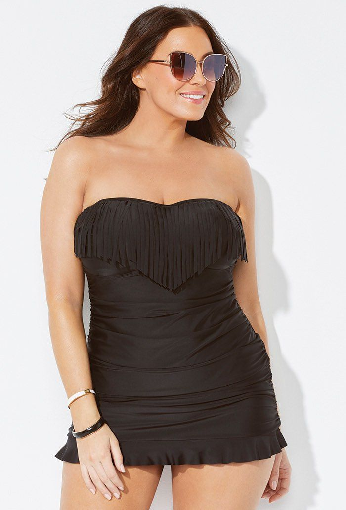Black Fringe Bandeau Swimdress Plus Size Swimwear