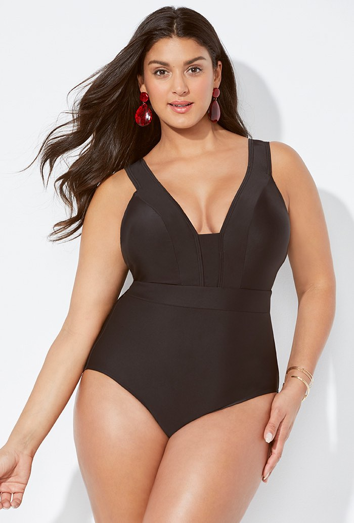 Black Plunge One Piece Swimsuit Plus Size Swimwear