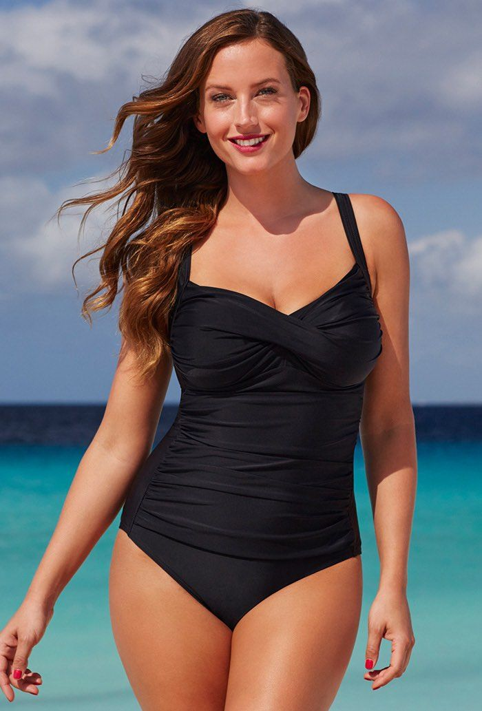 Black Ruched Sweetheart One Piece Swimsuit Plus Size Swimwear