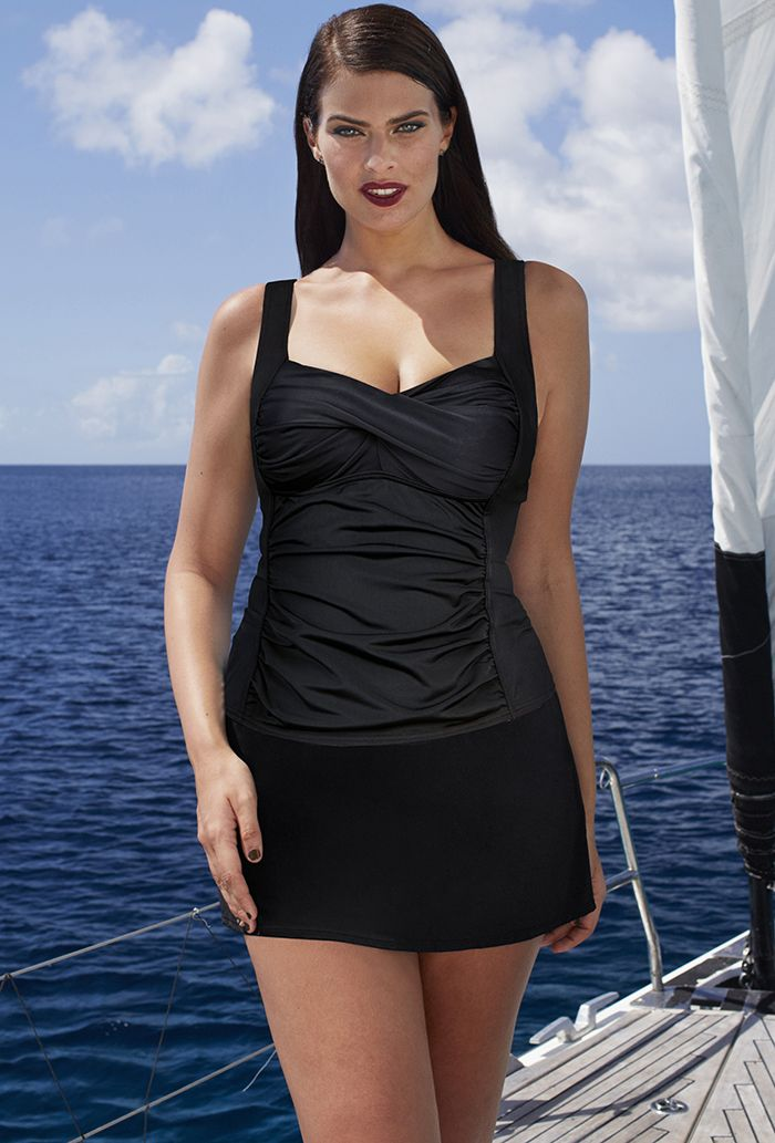 Black Ruched Twist Front Tankini with Side Slit Skirt Plus Size Swimwear