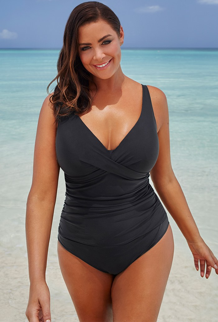 Black Ruched V-Neck One Piece Swimsuit Plus Size Swimwear