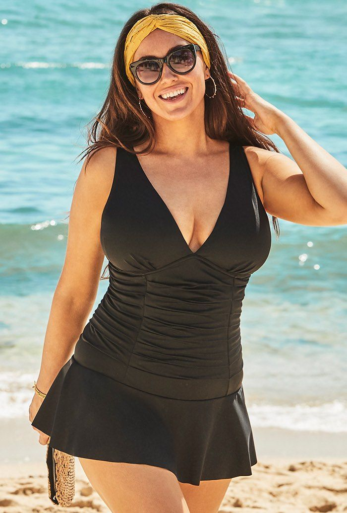 Black Shirred V-Neck Mini Swimdress Plus Size Swimwear