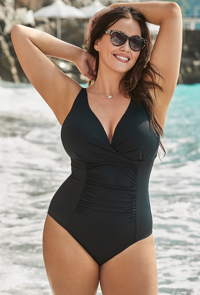 Black Twist Ruched One Piece Swimsuit Plus Size Swimwear