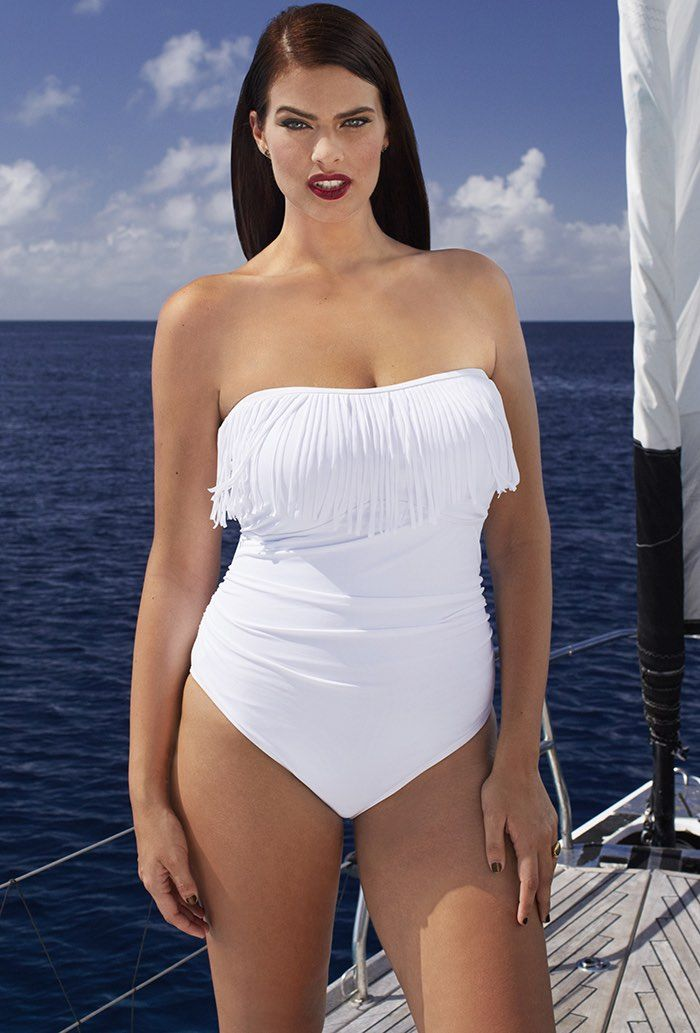 Blanco Fringe Bandeau One Piece Swimsuit Plus Size Swimwear