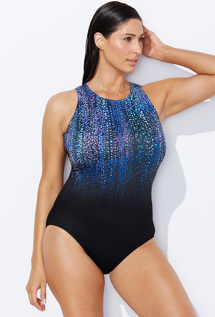 Chlorine Resistant Gemfall High Neck One Piece Swimsuit Plus Size Swimwear
