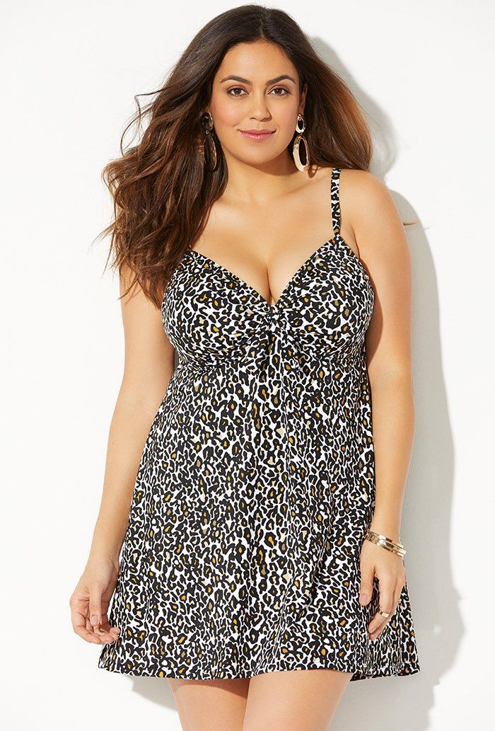 Leopardess Cup Sized Tie Front Underwire Swimdress Plus Size Swimwear